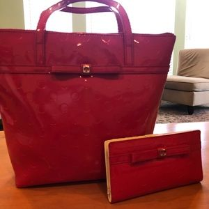 Red Kate Spade Purse and Matching Wallet